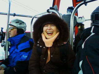 2010 Olympics: Ann atop Whistler Mountain on a gondola